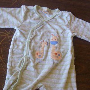 White Green Animal Footed Pajama Baby Siz 6 months